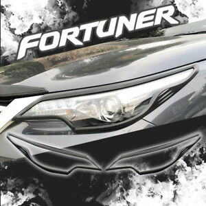 Fit 2016 2018 Toyota Hilux Fortuner Front Head Lamp Light Black Cover Lh rh
