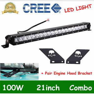 100w 21 Slim Led Light Bar hood Mounting Bracket For 2007 2018 Jeep Wrangler Jk