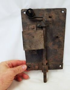 Large Antique Signed W S M Wrought Iron Spring Lock