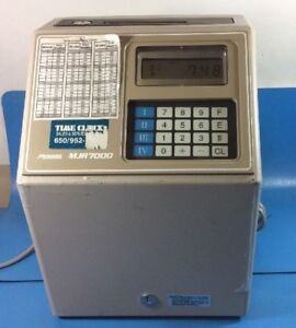 Amano Microder Mjr 7000 Computerized Calculating Time Clock Recorder no Keys am
