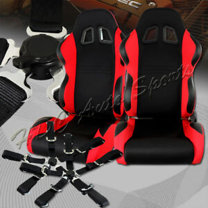 Type 7 Black Red Fully Adjustable Cloth Racing Seats 5 point Black Seat Belt