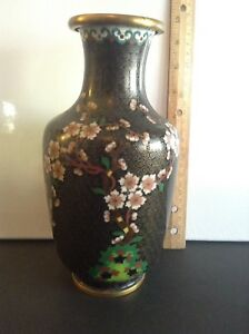 Chinese Qing Dynasty Antique Black Cloisonne Cherry Blossom Vase 8