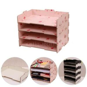 Filing Desk Paper Tray Letter Paper File Organizer For Office Home Wooden G7n0