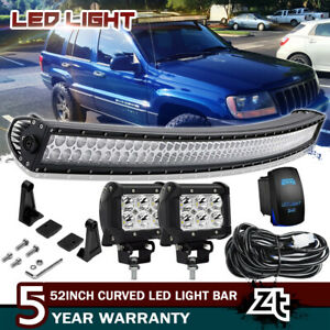 1999 2004 Jeep Grand Cherokee Wj Upper Roof 50 Led Light Bar 4 Pods Cube Combo