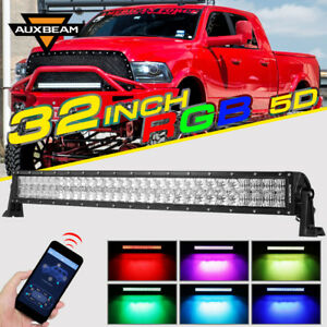 Auxbeam 32 Curved Rgb Cree Led Light Bar Multi Color Change Flash Offroad Truck