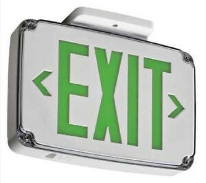 Lithonia Lighting 2 Face Wet Led Exit Sign White Case Green Wlte W 2 G El Sd