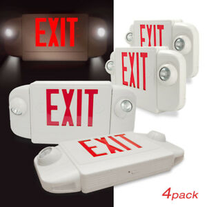 4 Pack Etoplighting Red Emergency Light Exit Sign With Backup Battery Etl Ul924