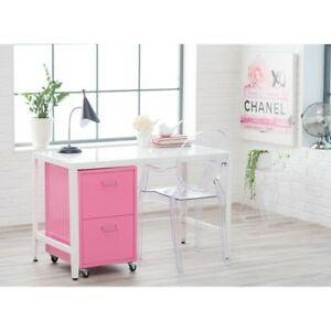 Pink File Cabinet Home Office Furniture Rolling Metal Small 2 Drawer Filing
