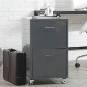 Grey File Cabinet Home Office Furniture Rolling Metal Small 2 Drawer Filing