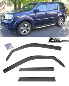 For 09 15 Honda Pilot Eos Visor In channel Smoke Tinted Side Window Deflectors