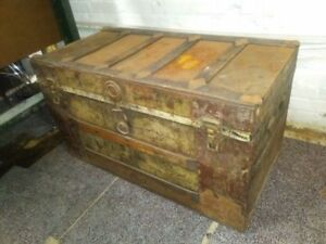 Antique Flat Top Storage Steamer Trunk For Sale