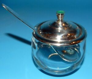 Towle Sterling Silver Glass Enamel Guilloche Lid With Spoon Condiment Jam Jar
