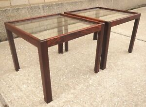 Mid Century Modern Danish Jason Mobler Pair End Tables Rosewood Excellent