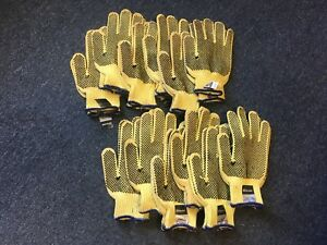 Memphis 9366 Dupont Kevlar Yelow 2 sided Pvc Dots Safety Gloves Medium 12 Pair