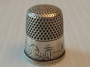 Simons Bro Co Sterling Silver Thimble W Scene Of Lighthouse On Beach Boats