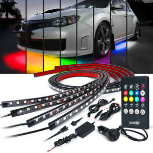 Xprite 4pcs 8 Color Led Lights Strip Kit Underglow Underbody Wireless Remote