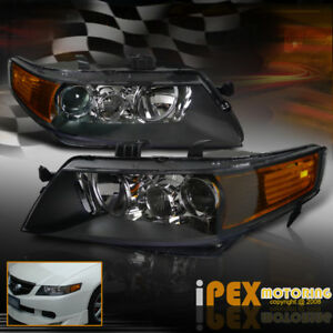 New For 2004 2005 Acura Tsx Projector Headlights Headlamps Best Quality Black