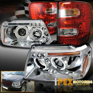 Jeep 1999 2004 Grand Cherokee Halo Projector Chrome Headlights W Led Tail Light