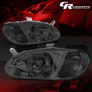 Pair Smoked Housing Clear Side Front Bumper Headlight lamps For 98 01 Kia Sephia