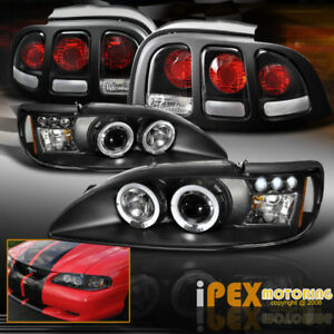 New 1996 1998 Ford Mustang Dual Halo Projector Led Headlights Black Tail Light