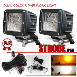 2x 3x3 Led Work Light Square Cube 3 Pods Amber White Strobe Flash Harness Kit