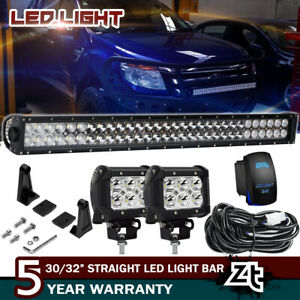 1998 2011 Ford Ranger Front Bumper Bull Bar 30 32 Led Light Bar 4 Pods Cube