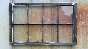 Salvaged Antique Window Sash 8 Pane Wood Window 40x26 Black Chippy Distressed