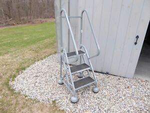 Cotterman Alumastep 3 Step Gray Industrial Rolling Ladder Step Ladder Safety