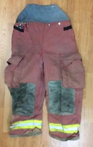 Firefighter Red Bunker Turnout Pants 36 X 28 Globe
