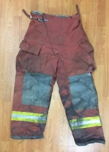 Firefighter Red Bunker Turnout Pants 38 X 29 Quest