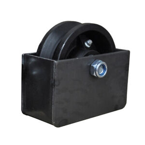 4 V Groove Sliding Gate Cast Iron Roller Wheel Axle With Mounting Box