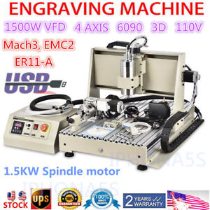 Usb 4axis 1500w Vfd Cnc6040 Router Engraver Engraving Milling Machine Mach3 110v