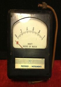 Vintage Preferred Instruments P i Metal Box Gauge Draft Inches Water Steam Punk