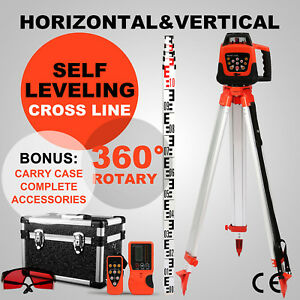 Rotary Red Laser Level Tripod 5mstaff Self Leveling Automatic Remote Control