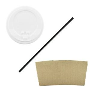 100 Pack 16 Oz Disposable Hot Paper Coffee Cups Lids Sleeves Straws