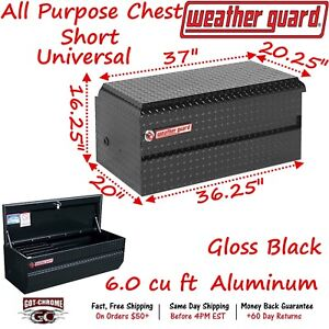 644 5 01 Weather Guard Black Aluminum Compact Chest Box 37 Truck Toolbox