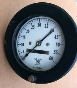 Maxisafe Gauge 0 60psi Used Great Looking Gauge For Steam Punk