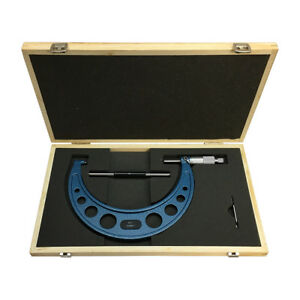6 7 Outside Micrometer Solid Metal Frame 0 0001 Graduation Wooden Case