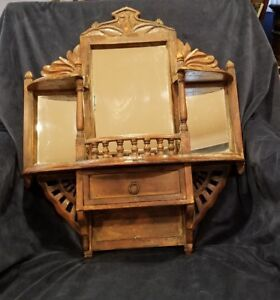Antique Vintage Hand Carved Wood Wall Cabinet Apothecary 24 X 20 5