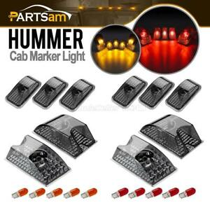 10 Smoke Roof Clearance Top Marker Lights W red amber Bulbs For 03 09 Hummer H2