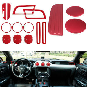 Red Interior Accessory Decoration Trim Cover Panel Sticker For Ford Mustang Lhd