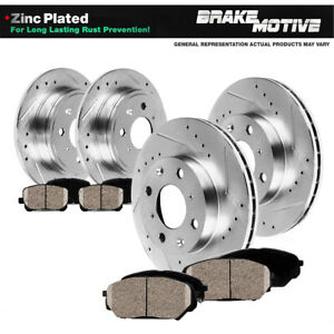 Front Rear Drill Slot Brake Rotors Ceramic Pads For 2012 2013 2016 Fiat 500