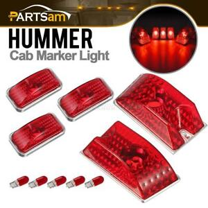 Set 5 Red Roof Top Clearance Cab Marker Lights Red Bulbs For Hummer H2 2003 2009