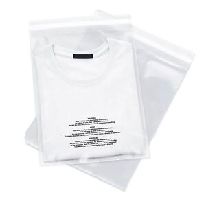 Poly Bags Resealable Suffocation Warning Clear Merchandise 1 5 Mil Shirt Apparel