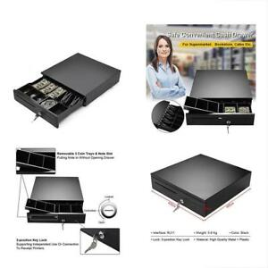 Cash Register Drawer Box Portable Money Lock Storage With Removable Tray Works