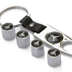 Car Decorations Tire Valve Dust Stems Air Caps Cover Keychain For Mercedes Benz