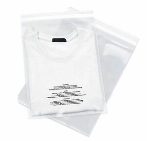500 12x18 Poly Bags Resealable Suffocation Warning Clear Merchandise 1 5 Mil