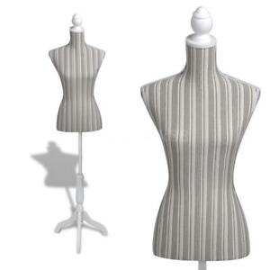 Ladies Bust Display Mannequin Linen With Stripes V0z5