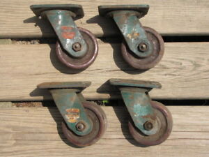 4 Vintage Four Inch Swivel Cold Forged Casters Rapistan Industrial No 4014