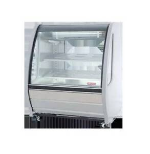 New White Curved Glass Deli Bakery Display Case Refrigerated Led Casters Tor Rey
